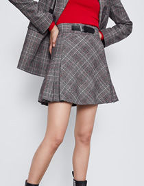Fashion Gray Plaid Belt Buckled Pleated Skirt