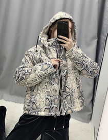 Fashion Snake Pattern Animal Print Hooded Cotton Jacket