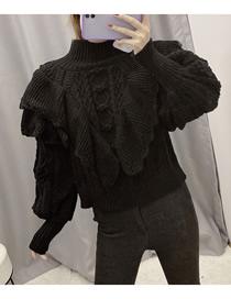 Fashion Black Stacked Ruffled Eight-knit Sweater