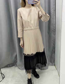Fashion Khaki Faux Leather Pleated Dress With Contrast Mesh