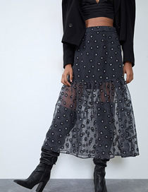 Fashion Black Silk Organza Skirt