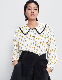Fashion Off-white Cartoon Cat And Mouse Print Doll Collar Shirt