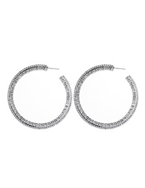 Fashion Silver Notched Large Circle Alloy Stud Earrings