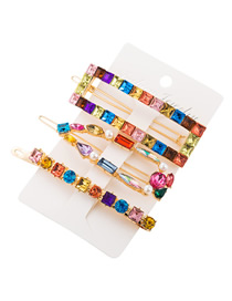 Fashion Color Geometric Alloy Glass And Pearl Hollow Hairpin Set