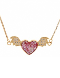Fashion Golden Cubic Zircon Heart Wing Necklace