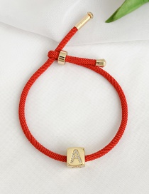 Fashion A Red Cubic Zirconia Alphabet Woven Rope Bracelet