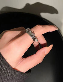 Fashion Silver Alloy Chain Geometric Ring