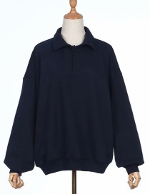 Fashion Navy Lapel Loose David Coat