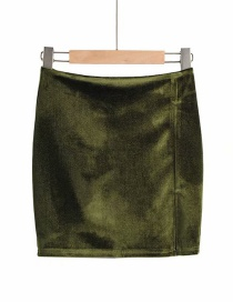 Fashion Green Velvet Bag Hip Side Slit Skirt