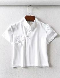 Fashion White Button-down Cheongsam Collar Short-sleeved T-shirt