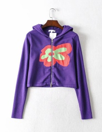 Fashion Purple Knitted Flower Stitching Hooded Sweater Sweater