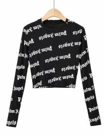Fashion Black Small Round Neck Print Slip-on Pullover T-shirt