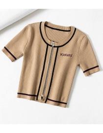 Fashion Khaki Brown Lined Slim-zip Cropped Knit Top