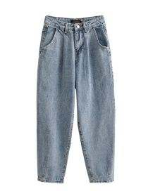 Fashion Blue Washed Pleated High-rise Jeans