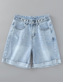 Fashion Denim Light Blue Washed Multi-button Ripped Denim Shorts
