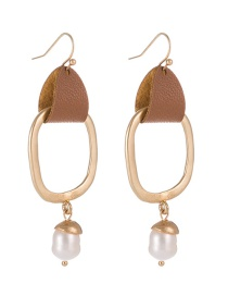 Fashion White Freshwater Pearl Leather Alloy Geometric Earrings