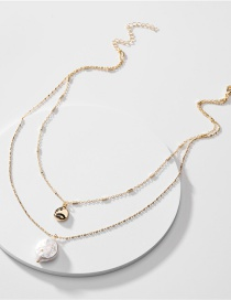 Fashion Golden Natural Shell Pearl Pendant Bean Chain Double Necklace