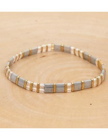 Fashion White + Gold Alloy Beaded Woven Bead Crystal Bracelet