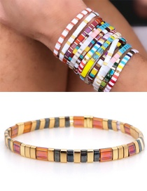 Fashion Red Alloy Woven Beaded Bracelet