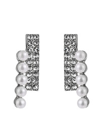 Fashion Silver Left And Right Double Half Diamond And Half Pearl Earrings