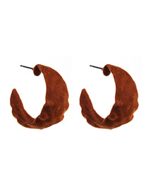 Fashion Brown Water Ripple C-shaped Alloy Flocking Earrings