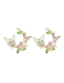 Fashion Color Alloy Dripping Pearl Flower Butterfly Earrings