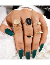 Fashion Golden Alloy Dripping Disc Love Eye Ring Set