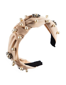 Fashion Beige Pearl Flower Bead Knotted Wide Edge Hoop