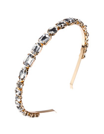 Fashion White Alloy Inlaid Glass Diamond Geometric Headband