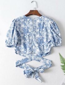 Fashion Blue Knotted Tie Round Neck Lace Shirt