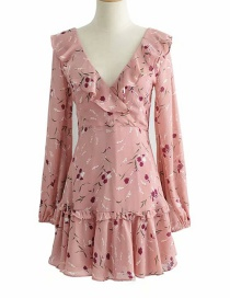 Fashion Pink Flower-print Ruffled Dress With Flower Print On The Back