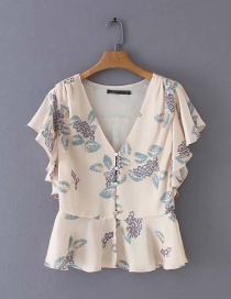 Fashion Beige V-neck Shirt With Ruffled Flower Print