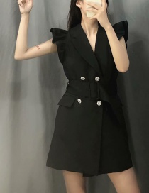 Fashion Black Layered Ruffled Double-breasted Dress