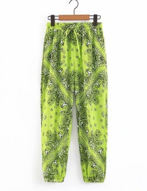 Fashion Green Flower Print Lace Up Straight Legs