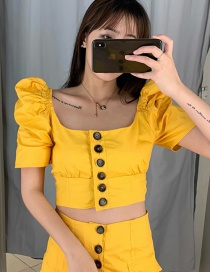 Fashion Yellow Open-neck Puff Sleeve Single-breasted Cropped Shirt