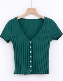 Fashion Fruit Green Seven-button Large V-neck Knitted Cardigan