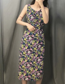 Fashion Color Floral Print Straight Pleated Dress