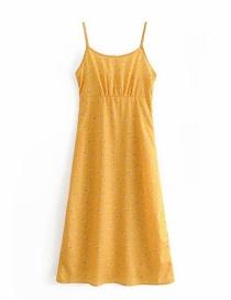 Fashion Yellow Floral Print Camisole Dress