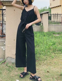 Fashion Black Linen-blend Strappy Single-breasted Jumpsuit
