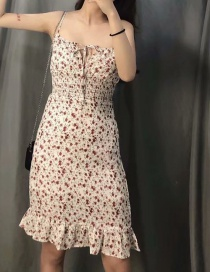 Fashion White Small Floral Print Lace Up Elastic Waist Dress