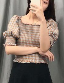 Fashion Turmeric + Blue Color-block Check Print Neckline Pleated Shirt