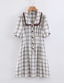 Fashion Gray Checked Lapel Single-breasted Dress