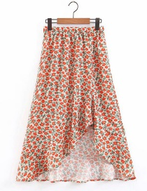 Fashion Red Flower Calico Rule Skirt