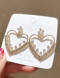 Fashion Golden 925 Silver Needle Cubic Zirconia Open Heart Earrings