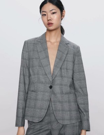 Fashion Gray Check Print One-button Suit