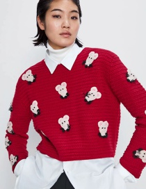 Fashion Red Animal Embroidered Knitted Sweater