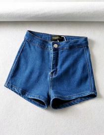 Fashion Blue Washed Denim Shorts