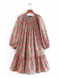 Fashion Rose Red Floral Print Ruffle Dress
