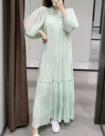 Fashion Mint Green Tulle Pleated Ruffled Dress