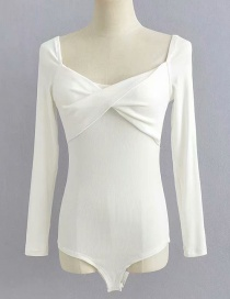 Fashion White Cross-pleated Chest Long Sleeved Shorts